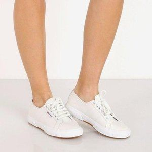 Superga 2750 Lace-Up White Leather Sneakers 8